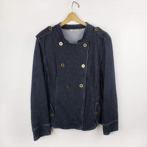 Coldwater Creek double breasted dark jean jacket L